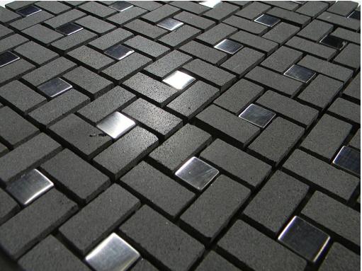 Black basalt pinwheel pattern with silver metal tile dots glass tile home mosaics - Silver tin backsplash tiles ...