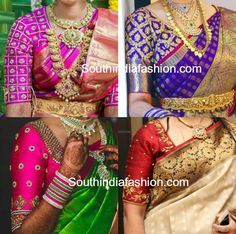 Elbow Length Sleeves Blouse Designs for Kanjeevaram wedding silk sarees for south Indian brides