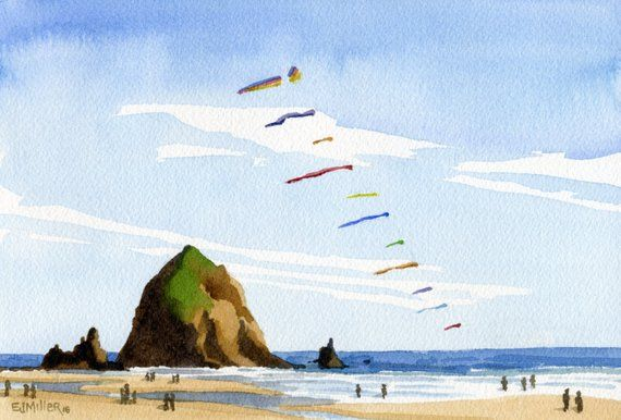 Haystack Rock Cannon Beach Art Print Oregon Watercolor Painting