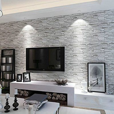 Rural Style Imitation Brick Wall Pattern Looks Real Up Wallpaper Inches By  Inches Long Murals PVC Vinyl Dimensional Gray Wall Paper TV Living Room  Bedroom ... Part 55
