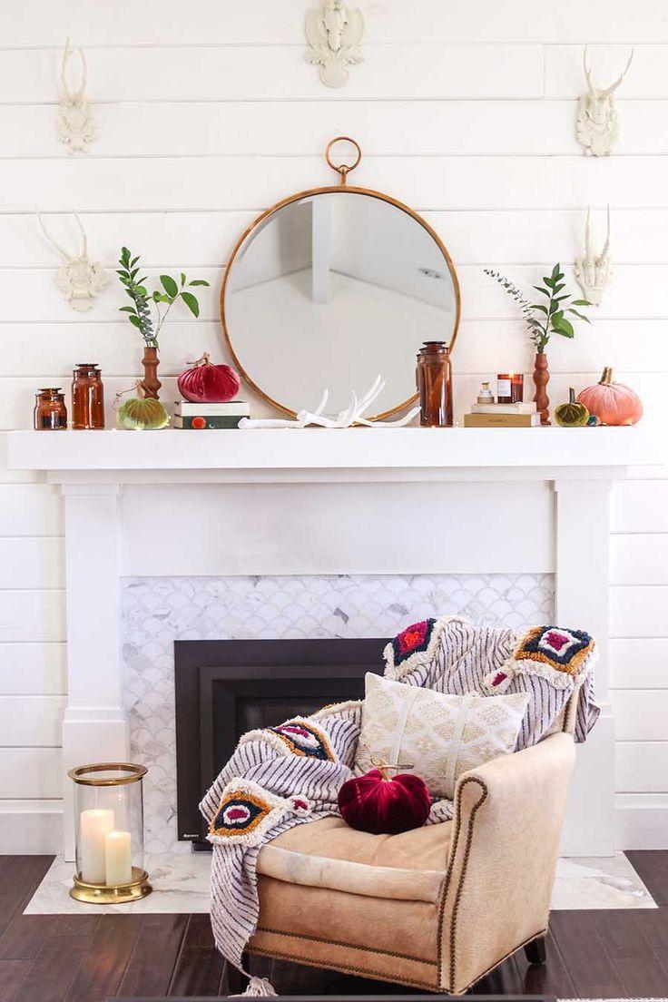 Rustic Early Fall Mantel Decor Modern Glam Interiors Fall Mantel Decorations Fall Fireplace Decor