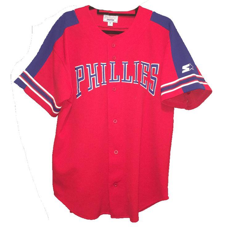 VINTAGE 90s PHILADELPHIA PHILLIES BASEBALL JERSEY  SIZE: M  STARTER GENUINE MERCHANDISE  MINT CONDITION  FREE SHIPPING  DELIVERY NYC . $25 . TO BUY EMAIL/DM/DEPOP ME .  #letgomyretro #depop #philadelphia #phillies #philadelphiaphillies #starter #lookforthestar