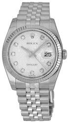 Rolex Datejust Silver Jubilee Diamond Dial Jubilee Bracelet 18k White Gold Fluted Bezel Mens Watch 116234SJDJ