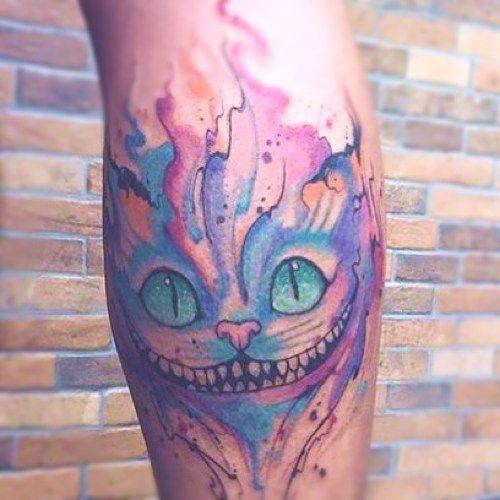 cara de gato multicolor tatuaje