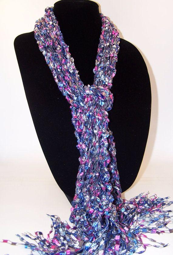Knit Scarf, Ladder Yarn Scarf, Blue Gray Pink Knit Scarf, Fashion Sca?