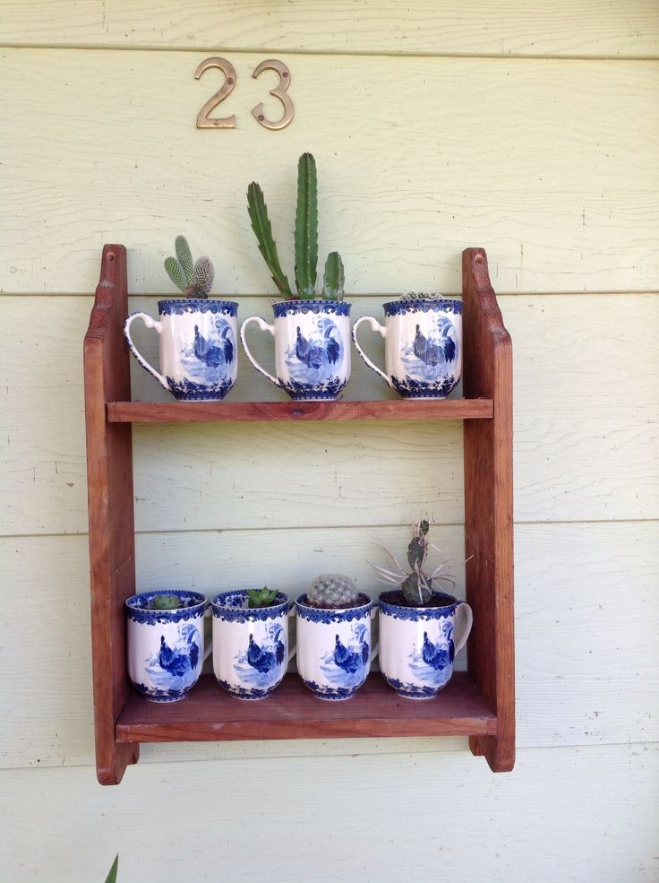 Upcycling of my favourite coffee cups and a little shelf brought from the Op shop!!