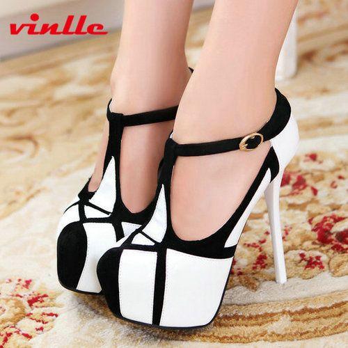 Vinlle 2014 pompes plateforme de mode sexy haute- chaussures à talons bout rond talon mince chaussures plateforme féminine's 34-39 taille