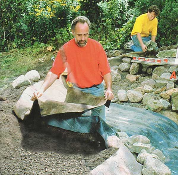 Rock on a roll is a pond liner that imitates the look of rock