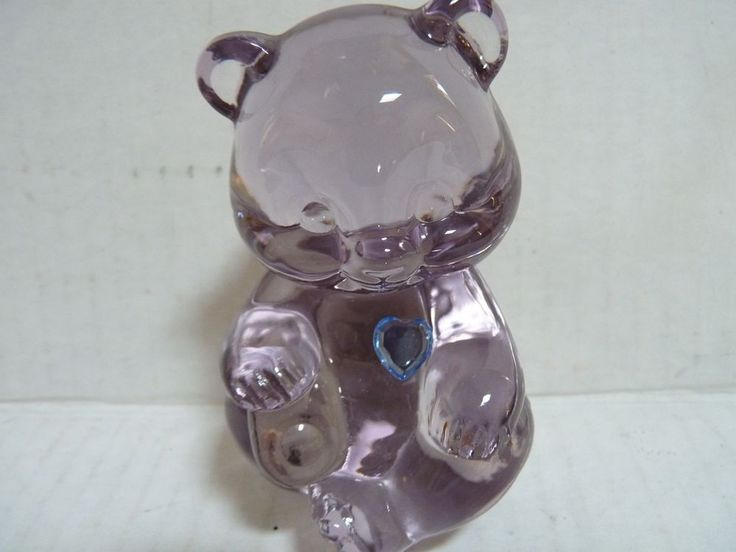 FENTON ART GLASS PALE PURPLE TEDDY BEAR BLUE HEART BIRTHSTONE  #Fenton