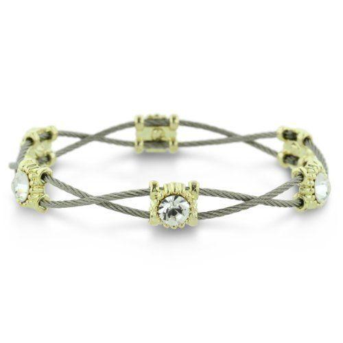 Elegant Double Strand Swarovski Crystal and Stainless Steel Bracelet SuperJeweler. Save 73 Off!. $10.99. Length 7 in.