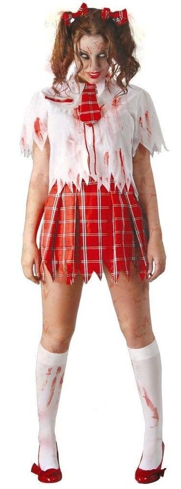 Zombie School Girl Costume Ladies Halloween Uniform Adult Fancy Dress Outfit New