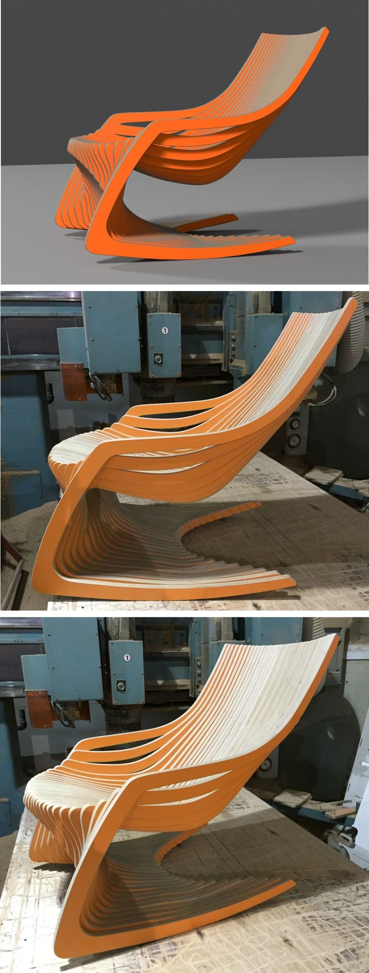 ROCKING CHAIR  / CNC ROUTER  / 3D DESIGN / PLYWOOD FURNITURE / www.joinxstudio.com                                                                                                                                                                                 More