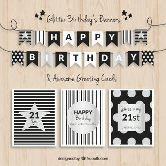 Banderas de cumpleaños y las tarjetas de negro y plata