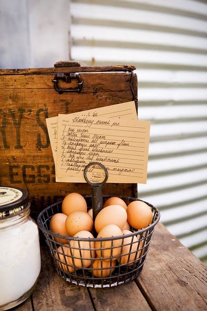 Basket of eggs for the counter, complete with recipe holder