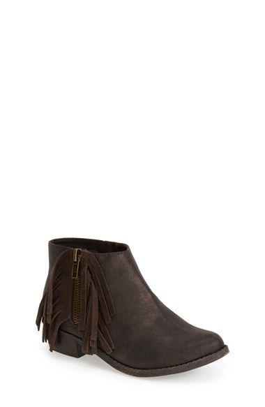 Free shipping and returns on Steve Madden 'Jfriona' Boot (Little Kid & Big Kid) at Nordstrom.com. A swingy suede fringe lends a touch of Western flair to a sleek little bootie set on a low, sturdy heel.