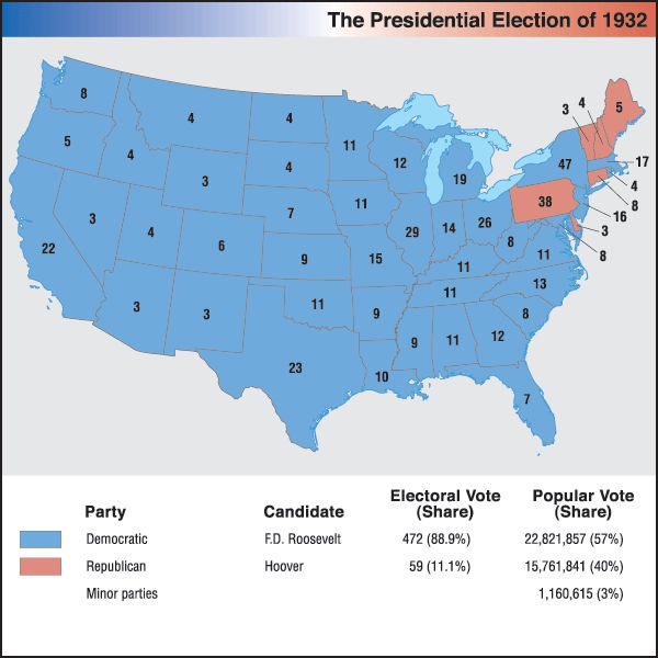 a history of the new deal by franklin roosevelt in the 1932 elections Roosevelt and the new deal  led to the election of franklin d roosevelt in 1932 roosevelt's extensive program to restore the economy made up ____overall, these .
