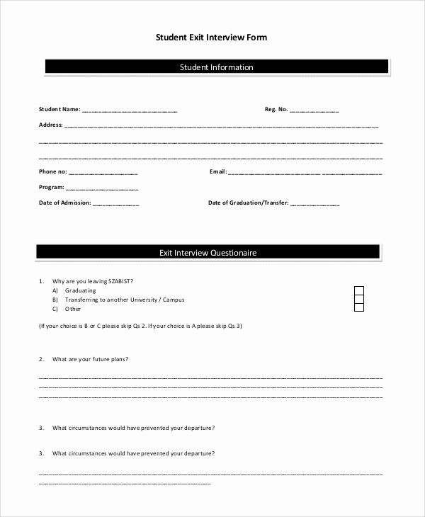 Sample Exit Interview Format Unique Sample Exit Interview Form 10 Examples In Pdf Word In 2020 Interview Format Student Information Interview