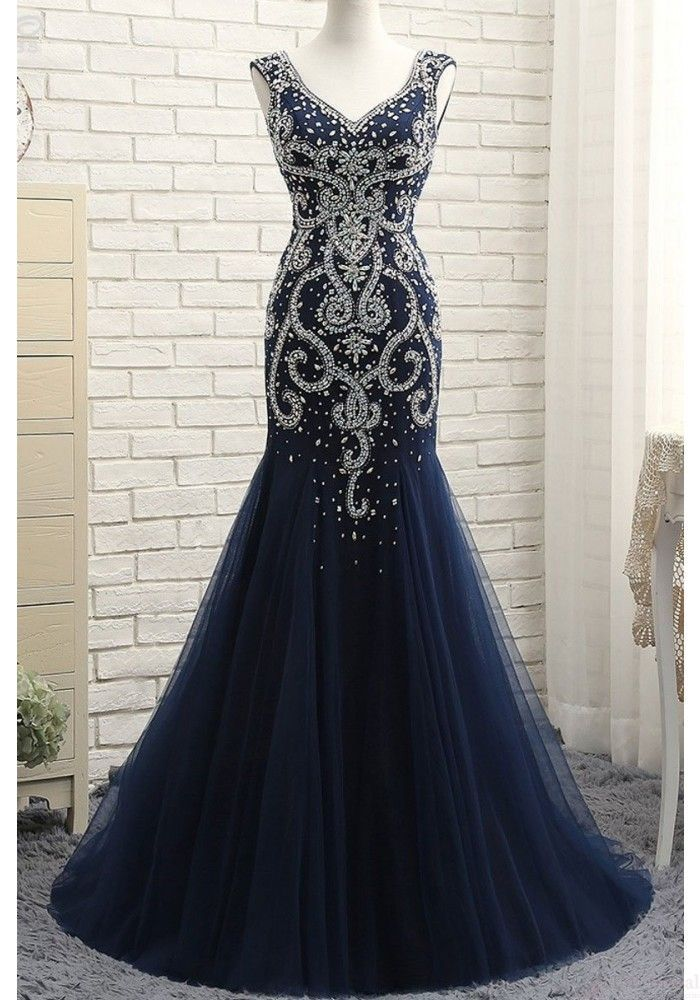 Navy Blue V-neck Long Mermaid Prom Dresses with Beaded(ED2320) en ... c8558f60d49e