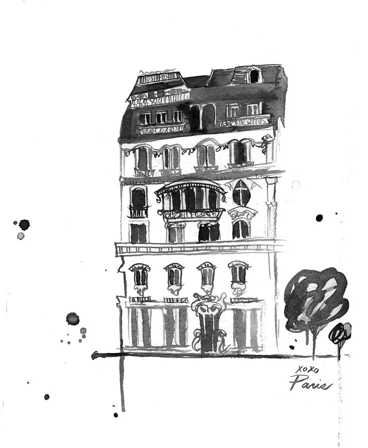 Watercolor Travel Illustration - Xoxo Paris Black and White Edition print. $22.00, via Etsy.