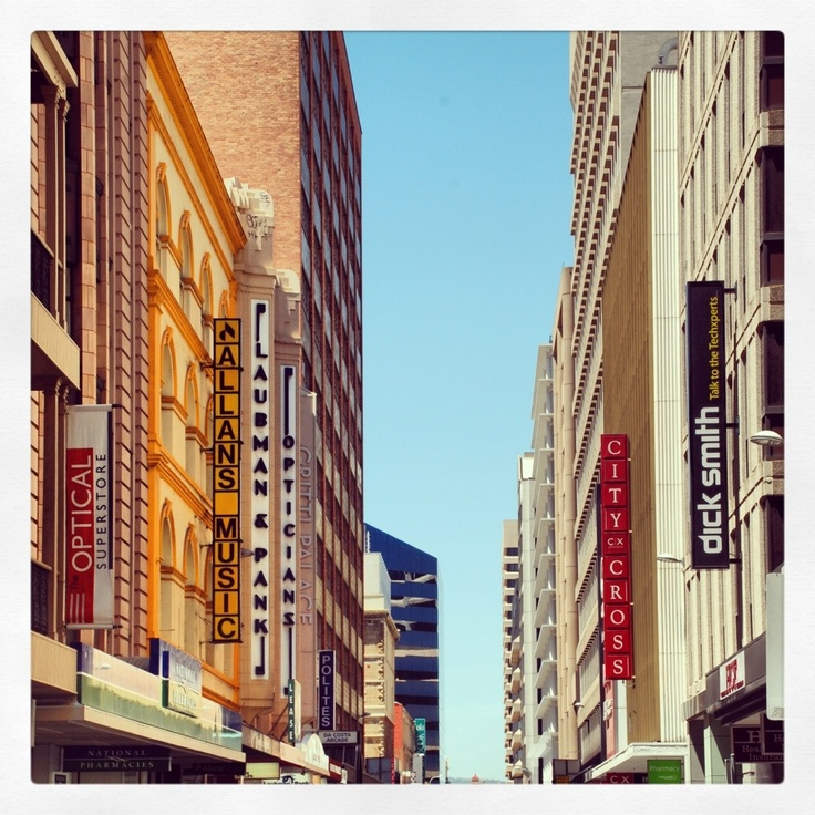 Adelaide, South Australia. Rundle Mall in the CBD. Oh what a beautiful sight. I love the Adelaide CBD.