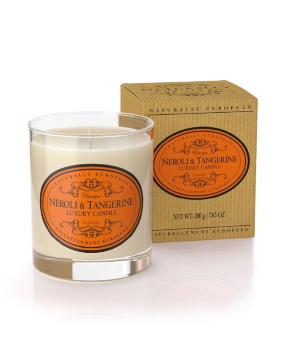 Wonderful Organic Candles - Neroli & Tangerine - A seriously great quality candle which burns well and perfumes the room brilliantly. Made with organic plant wax and essential oils this candle is infused with the smooth, fresh, crisp scent of neroli and the zest of tangerine. A  sweet citrus fragrance reminiscent of Morocco and the East.  100% natural ingredients makes these candles clean burning, sustainable and kind to your environment.  40hr burn time  200gms