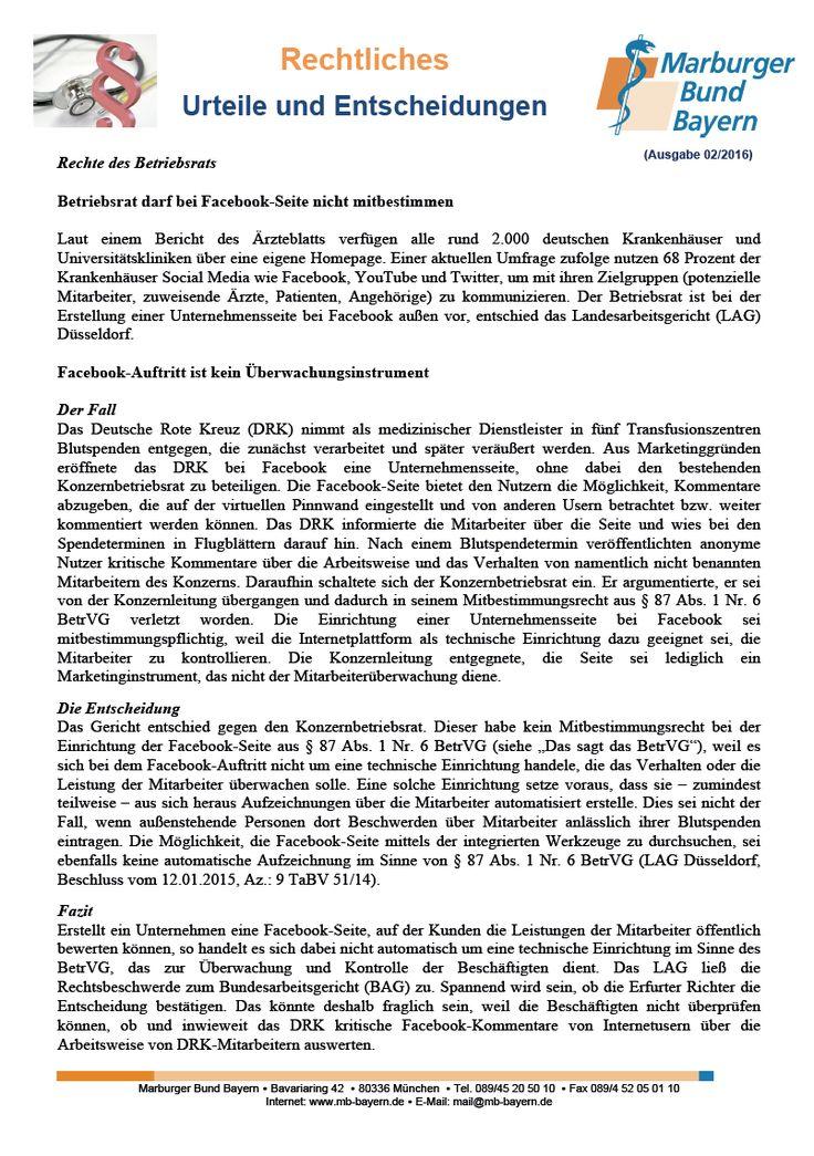 #Betriebsratsrecht: Betriebsrat darf bei Facebook-Seite nicht mitbestimmen (LAG Düsseldorf, Beschluss vom 12.01.2015, Az.: 9 TaBV 51/14)