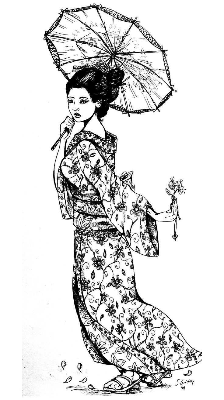 Free coloring page «coloring-geisha-japan-tatouage». A beautiful Geisha in black & white to color for free
