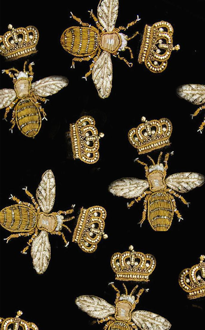 Goldwork embroidered bees and crowns