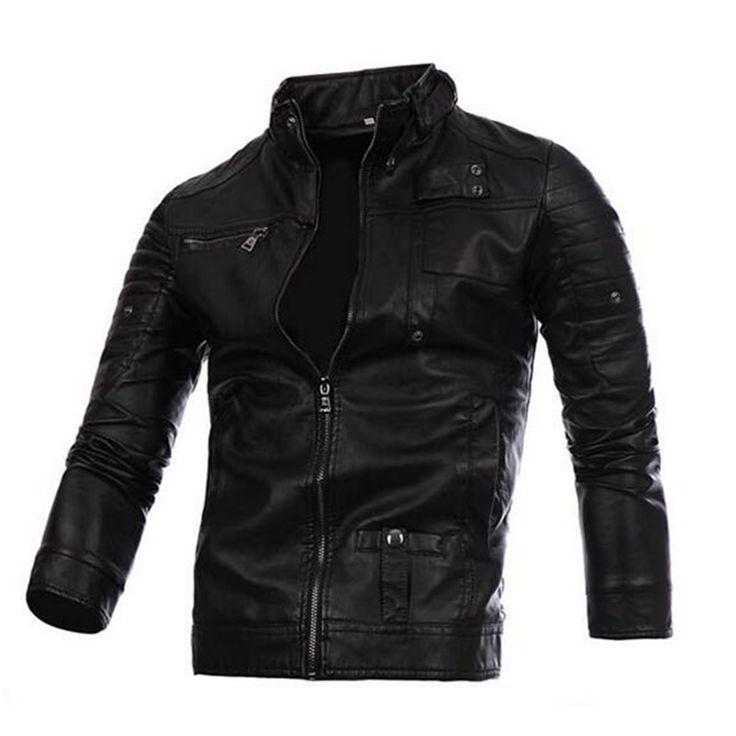 Aliexpress.com: Comprar 2016 hombres de la Moda Chaqueta de La Motocicleta de LA PU de Cuero Con Cremallera chaqueta de Punto Escudo Slim Fit Ropa C195 de ropa refranes fiable proveedores en Zhu's shopping Store