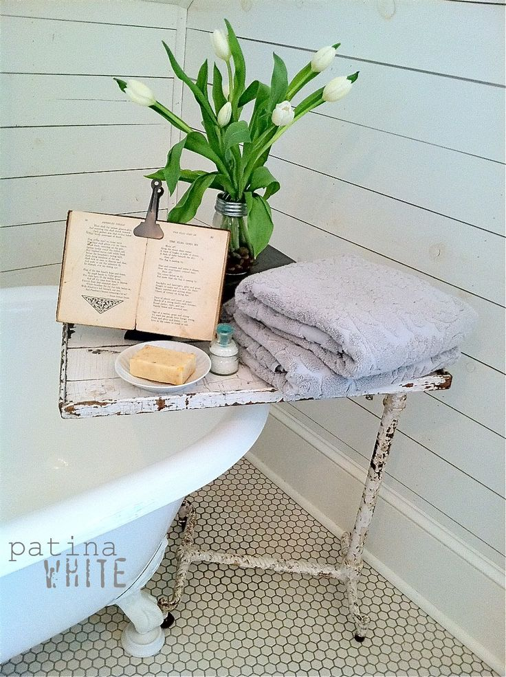 vintage metal & wood tray works will with the penny tiles, horizontal white boards and claw-footed tub