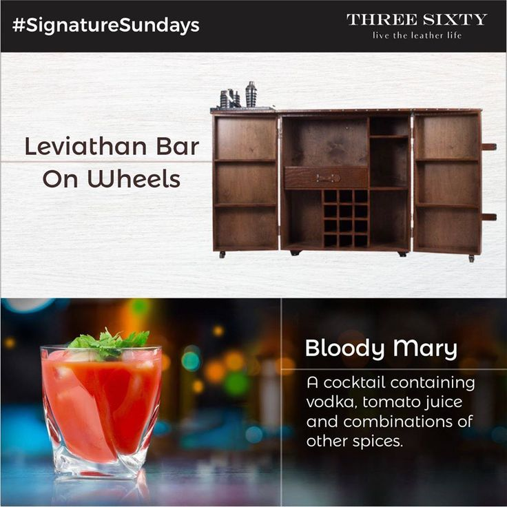 """We all like to to decompress after a week of hard work - what better way to do it than with a delicious Bloody Mary in your hands? Our gargantuan """"Leviathan Bar"""" is the perfect place to store all the various ingredients you need to make this tangy drink - tomatoes, spices, a grinder to make the perfect puree, a shaker to make the perfect concoction, bar glasses and most importantly, more vodka than you will need! Read how to make the recipe with our signature twist here…"""