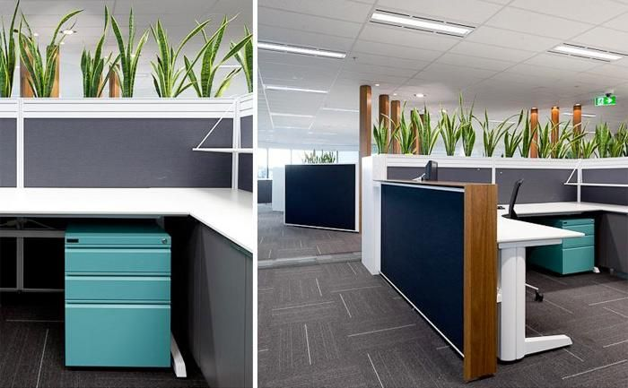 ATCO | Perth, WA. Designer: Habitat 1. UCI Supplied: Paradigm workstations with Zodiac screens, Bespoke office joinery, metal storage and planter boxes. uci.com.au