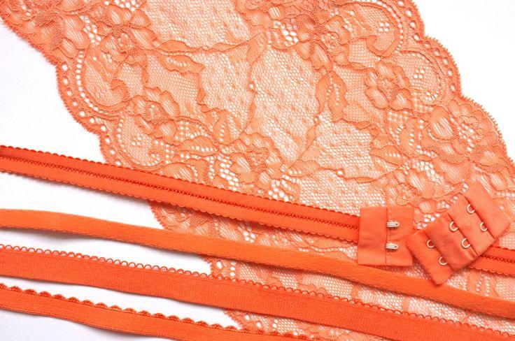 Bra Kit - make your own bra - orange colourway