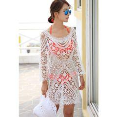 Белый длинный рукав Пляж крышка платье крючком юбка полый белый песчаный пляж