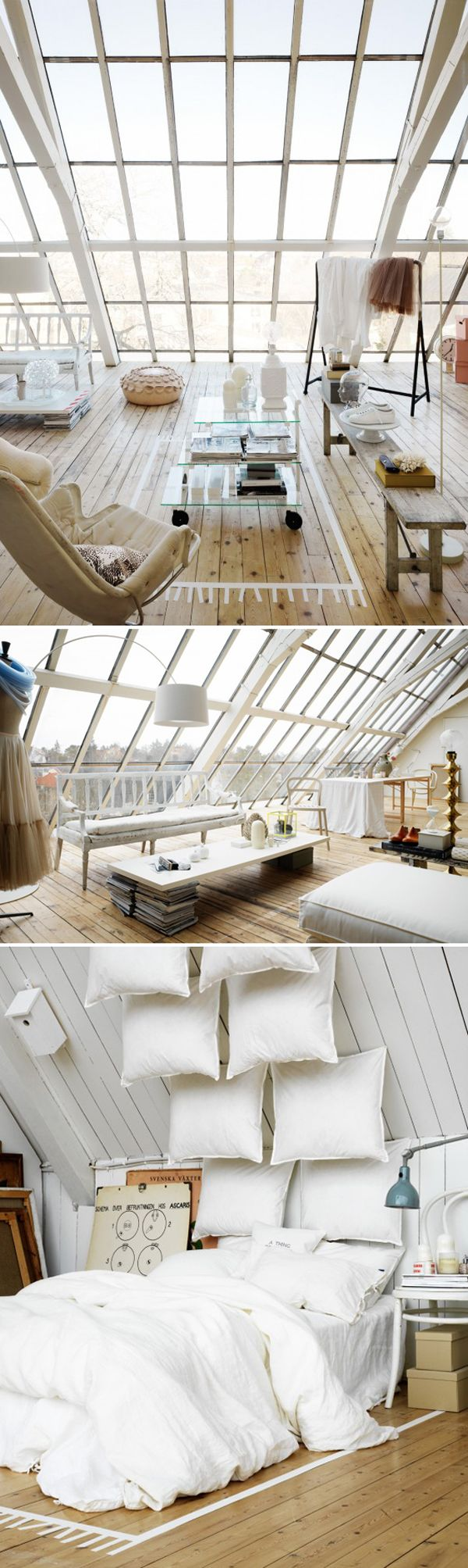 Love this beautiful window, the white and the pillows ! Great inspiration for my dream home ;)/ verrières / fenêtre de toit