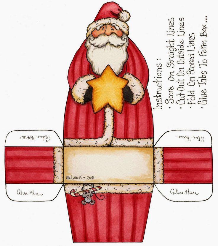 Cajas de Santa Claus para Imprimir Gratis.