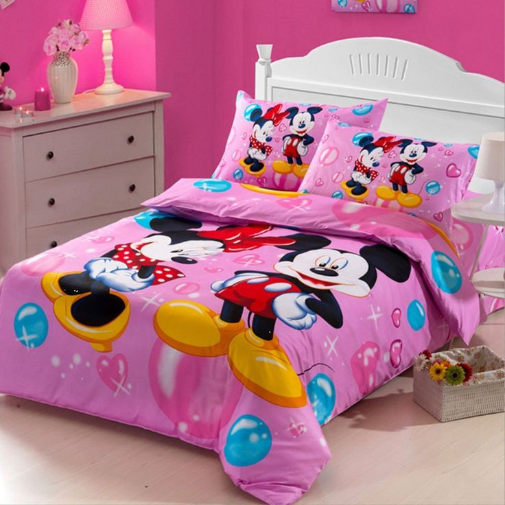 Cartoon Duvet Cover Set Mickey and Minnie Bedding Disney Bedding Sets 100% Cotton Kids Toddler Bedding Set Soft Bed Sheets,Twin Size,3Pcs, Christmas Gift //Price: $87.04 & FREE Shipping //     #bedding sets