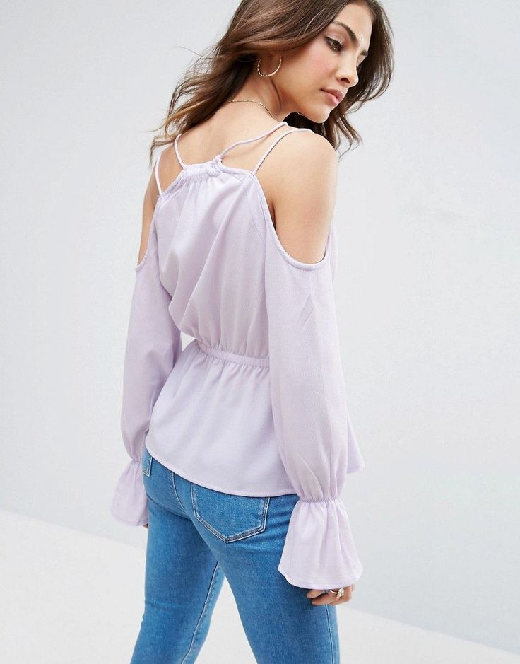 ASOS Cold Shoulder Blouse with Shirring & Button Front - Purple