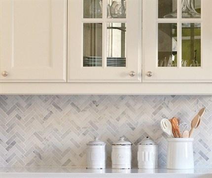 Carrera marble Herringbone backsplash #tile #herringbone - 131 Best Images About Master Bath On Pinterest Herringbone