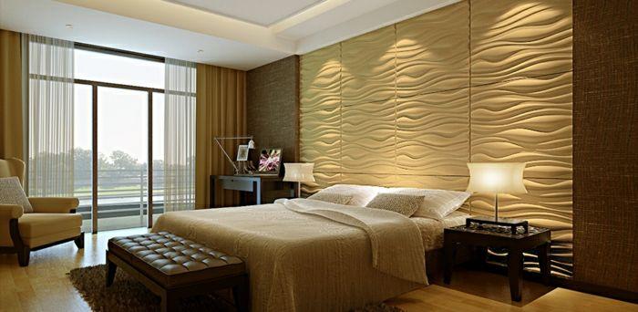 Gemutliches Warmes Ambiente Im Schlafzimmer Wandpaneele Innenwande Inneneinrichtung