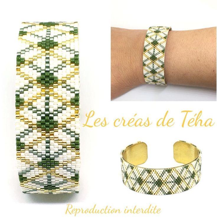 """77 Likes, 1 Comments - @les_creas_de_teha on Instagram: """"Un petit nouveau en tissage peyote monté sur un support doré!  Bracelet à retrouver dans les…"""""""
