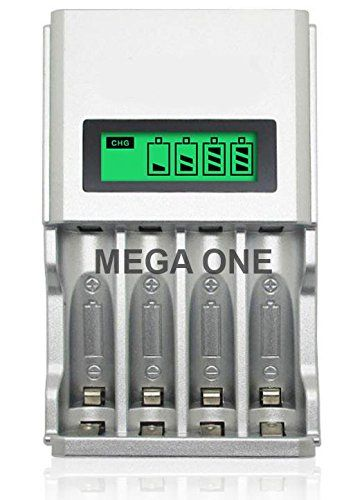 MEGA ONE © Chargeur rapide piles batterie rechargeable AA / AAA LCD intelligent Ultra léger (Rapid battery charger) Ni-MH/Ni-Cd Premium…