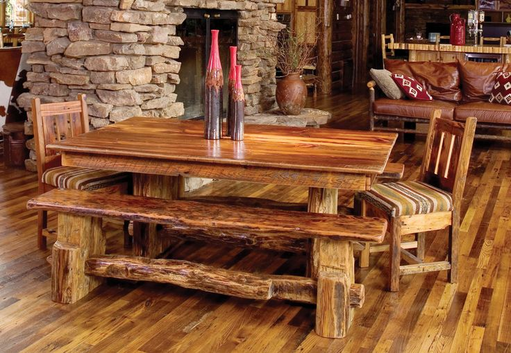 Rocky Mountain Dining Table, shown with bench & chair
