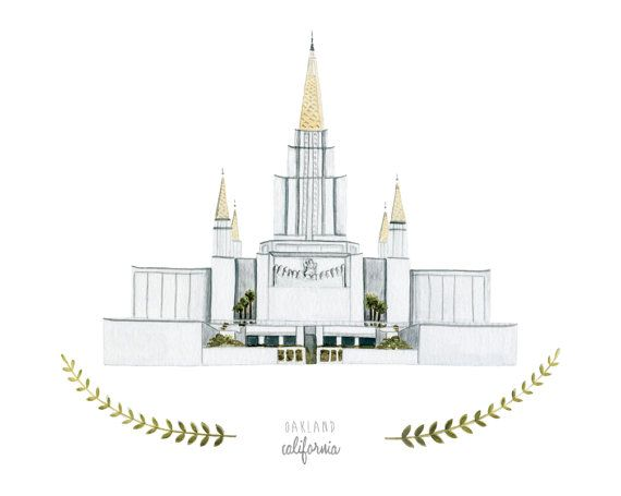 Oakland California LDS Temple Illustration  8x10 by HeatherMettra