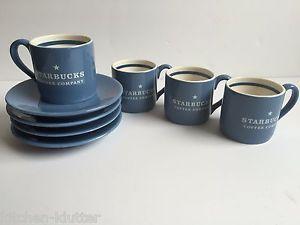 Starbucks 2000 Espresso Demitasse Cups/Saucers Set of 4 Cup Saucer Blue Mini