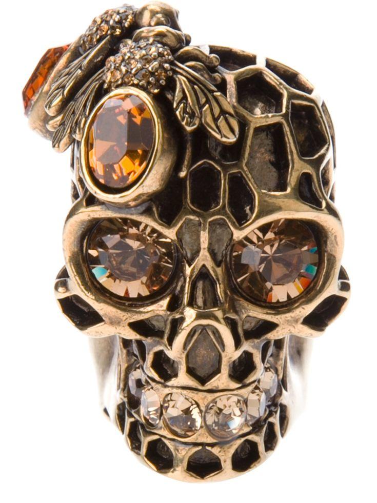☆ Alexander McQueen Bee Skull Ring ☆