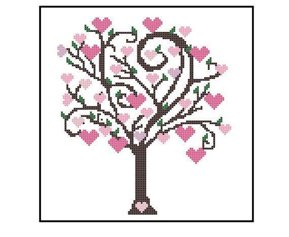 Árbol lindo Cross Stitch patrón patrón de punto por CrossStitchDiva