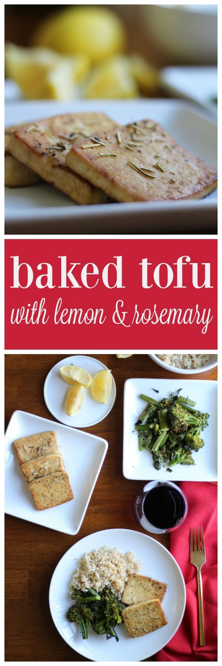 This baked tofu recipe with lemon and rosemary is a cinch to make. It works as a main course with roasted vegetables and rice. It's also delicious cold, straight out of the refrigerator. #vegan #glutenfree #tofu via @cadryskitchen