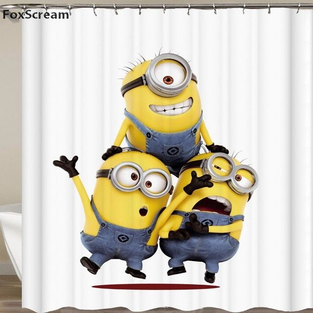Bathroom 3d Yellow Shower Curtains Mischievous Minions Series