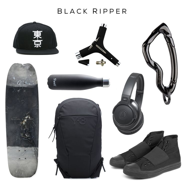 Skateboard EDC // Clockwise: Kanji baseball cap by Dsqaured2, Water bottle by S'well, Multi-tool by Riot, Arcus carabiner keychain by @svorndesign, Wireless headphones by Audio-Technica, Sneakers by Sasquatchfabrix, Backpack by Y-3, Skate deck by Rick Owens // #streetwear #streetstyle #skateboard #mensfashion #streetfashion